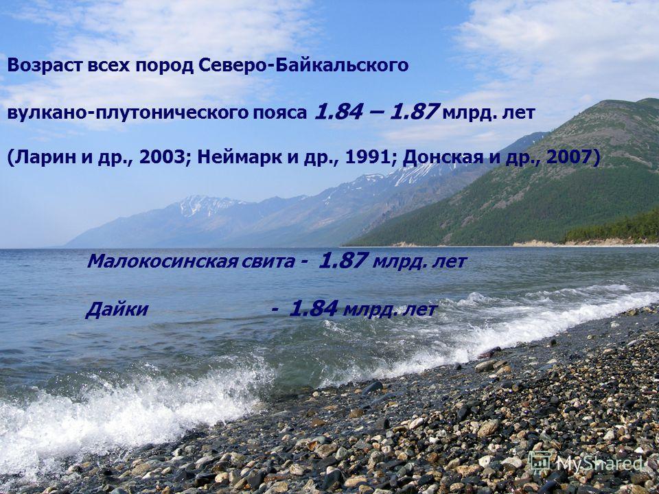 Возраст всех пород Северо-Байкальского вулкано-плутонического пояса 1.84 – 1.87 млрд. лет (Ларин и др., 2003; Неймарк и др., 1991; Донская и др., 2007) Малокосинская свита - 1.87 млрд. лет Дайки - 1.84 млрд. лет