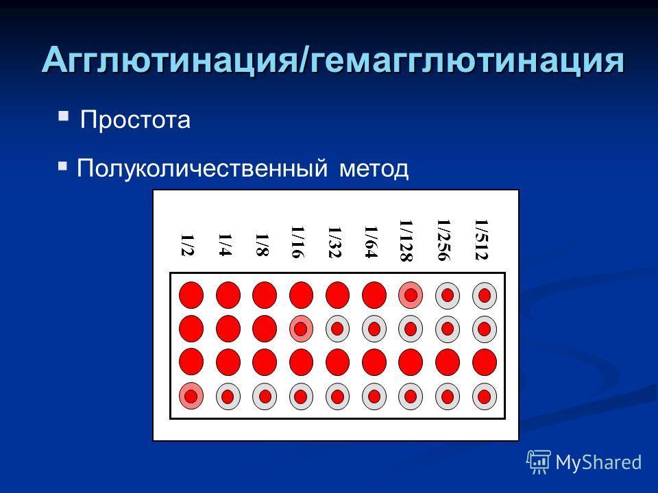 Агглютинация/гемагглютинация Простота Полуколичественный метод 1/2 1/4 1/8 1/16 1/32 1/64 1/128 1/256 1/512
