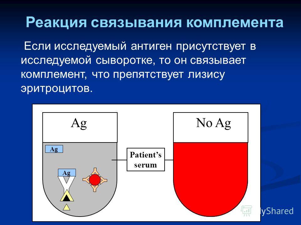 Ag Patients serum Ag No Ag Ag Если исследуемый антиген присутствует в исследуемой сыворотке, то он связывает комплемент, что препятствует лизису эритроцитов. Реакция связывания комплемента