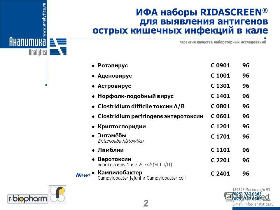 ИФА наборы RIDASCREEN ® для выявления антигенов острых кишечных инфекций в кале РотавирусС 090196 АденовирусС 100196 АстровирусС 130196 Норфолк-подобный вирусС 140196 Clostridium difficile токсин А/ВС 080196 Clostridium perfringens энтеротоксинС 0601