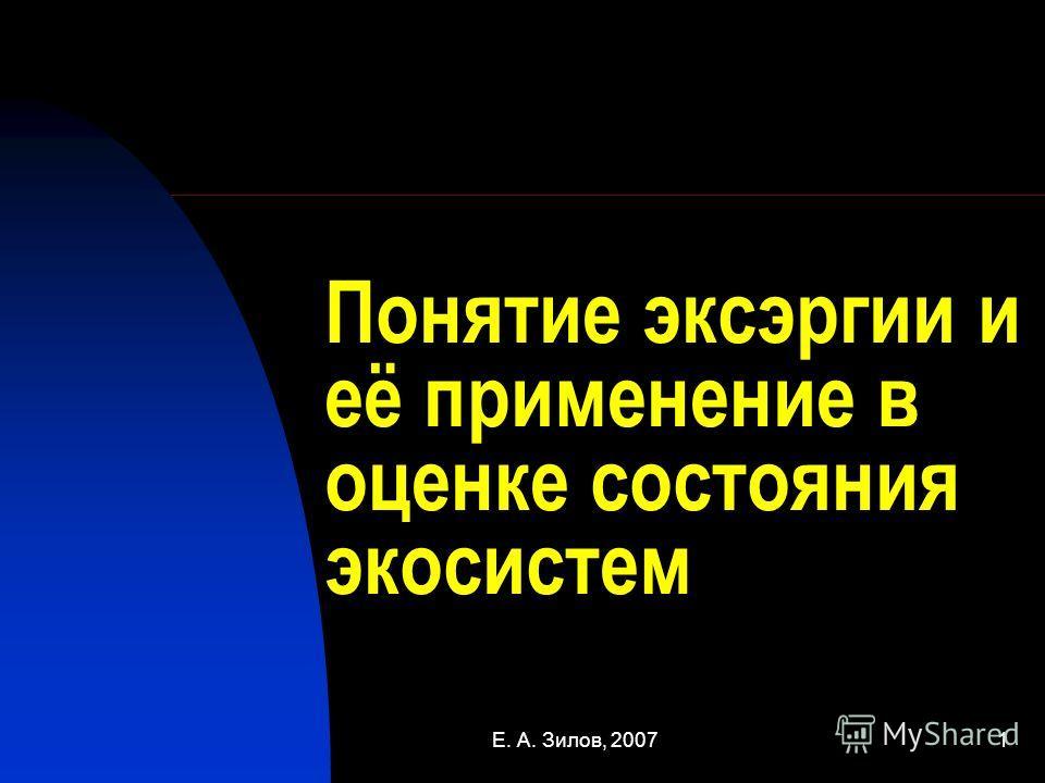 Е. А. Зилов, 20071 Понятие эксэргии и её применение в оценке состояния экосистем