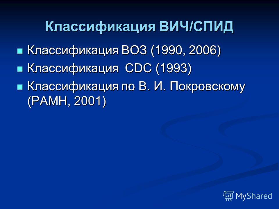 Классификация ВИЧ/СПИД Классификация ВОЗ (1990, 2006) Классификация ВОЗ (1990, 2006) Классификация CDC (1993) Классификация CDC (1993) Классификация по В. И. Покровскому (РАМН, 2001) Классификация по В. И. Покровскому (РАМН, 2001)