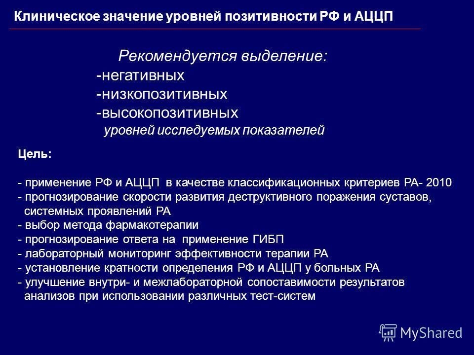 Клиническое значение уровней позитивности РФ и АЦЦП Рекомендуется выделение: -негативных -низкопозитивных -высокопозитивных уровней исследуемых показателей Цель: - применение РФ и АЦЦП в качестве классификационных критериев РА- 2010 - прогнозирование