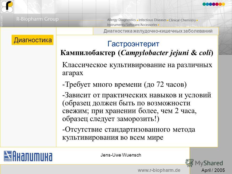www.r-biopharm.deApril / 2005 Диагностика желудочно-кишечных заболеваний Jens-Uwe Wuensch Гастроэнтерит Диагностика Классическое культивирование на различных агарах -Требует много времени (до 72 часов) -Зависит от практических навыков и условий (обра