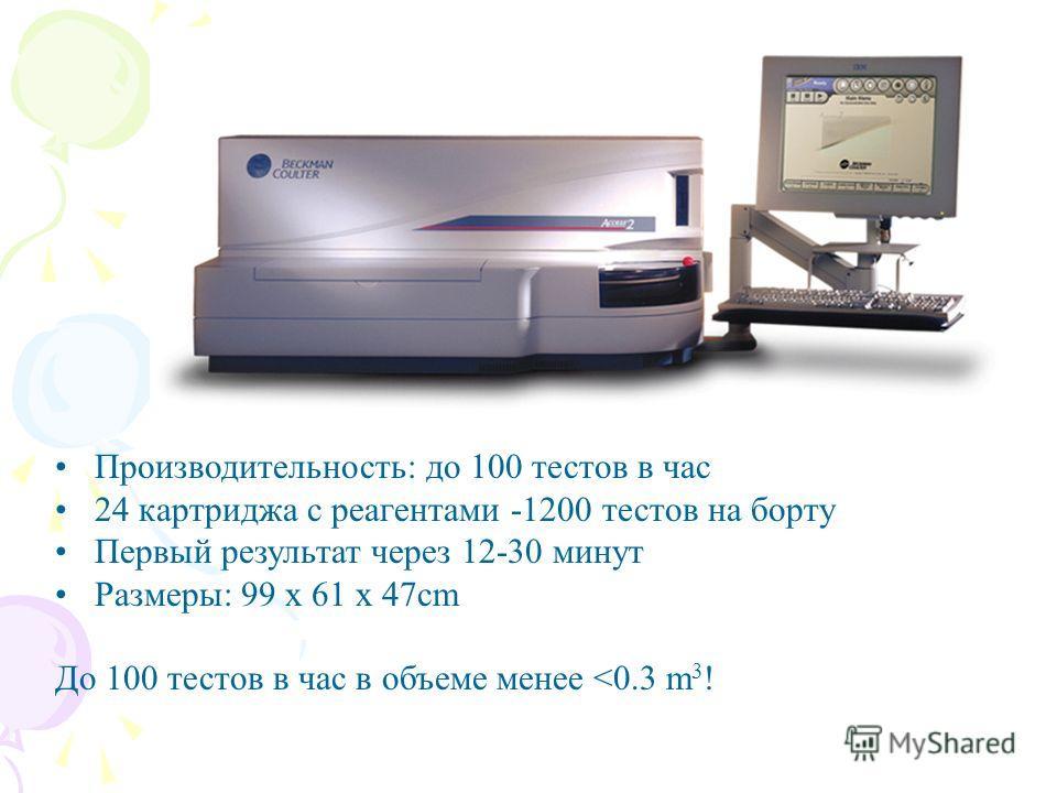 Производительность: до 100 тестов в час 24 картриджа с реагентами -1200 тестов на борту Первый результат через 12-30 минут Размеры: 99 x 61 x 47cm До 100 тестов в час в объеме менее