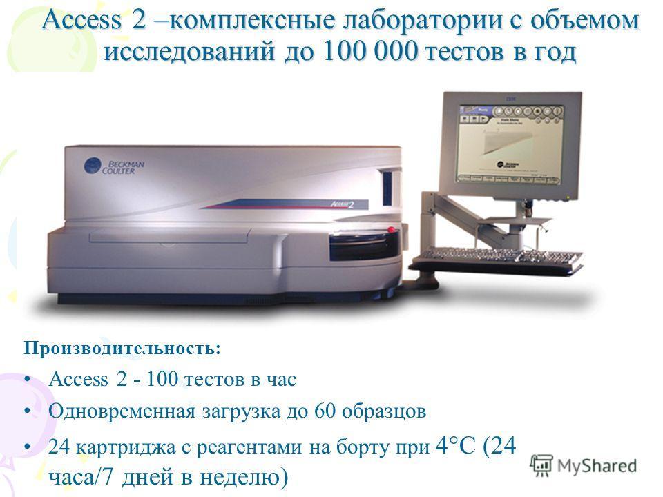 Access 2 –комплексные лаборатории с объемом исследований до 100 000 тестов в год Производительность: Access 2 - 100 тестов в час Одновременная загрузка до 60 образцов 24 картриджа с реагентами на борту при 4°С (24 часа/7 дней в неделю)