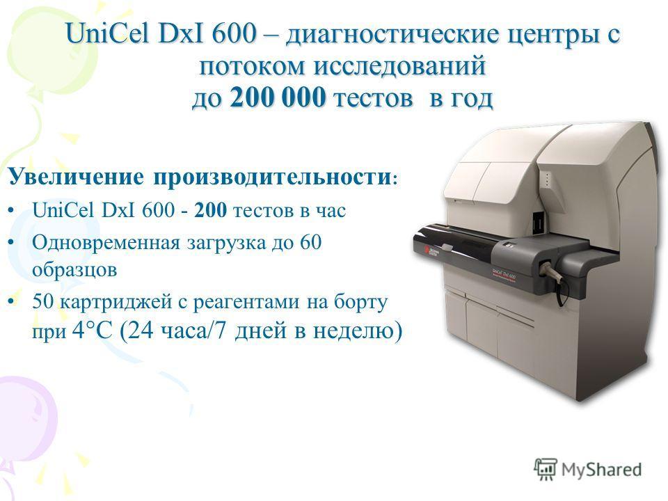 Увеличение производительности : UniCel DxI 600 - 200 тестов в час Одновременная загрузка до 60 образцов 50 картриджей с реагентами на борту при 4°С (24 часа/7 дней в неделю) UniCel DxI 600 – диагностические центры с потоком исследований до 200 000 те