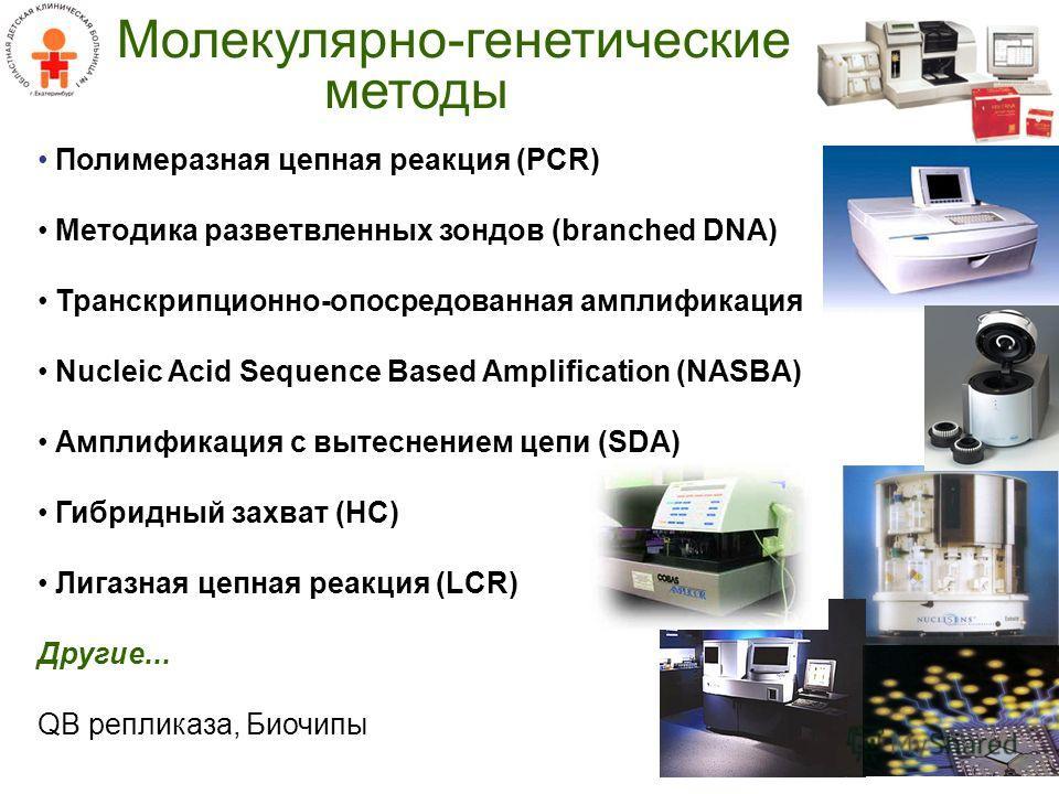 Молекулярно-генетические методы Полимеразная цепная реакция (PCR) Методика разветвленных зондов (branched DNA) Транскрипционно-опосредованная амплификация Nucleic Acid Sequence Based Amplification (NASBA) Амплификация с вытеснением цепи (SDA) Гибридн