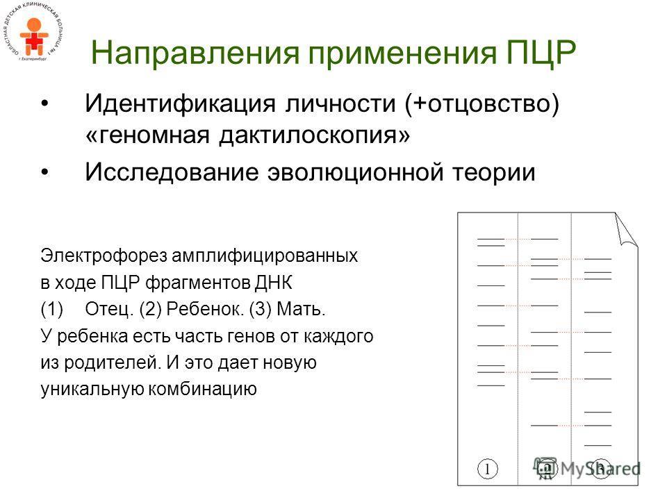 Направления применения ПЦР Идентификация личности (+отцовство) «геномная дактилоскопия» Исследование эволюционной теории Электрофорез амплифицированных в ходе ПЦР фрагментов ДНК (1)Отец. (2) Ребенок. (3) Мать. У ребенка есть часть генов от каждого из