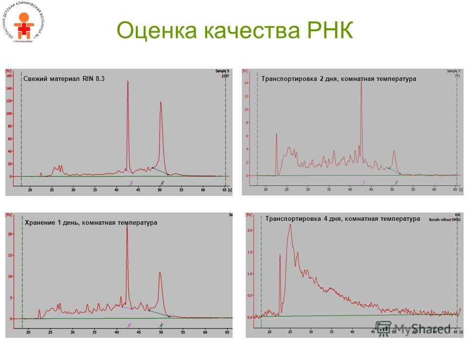 Оценка качества РНК Свежий материал RIN 8.3 Хранение 1 день, комнатная температура Транспортировка 2 дня, комнатная температура Транспортировка 4 дня, комнатная температура