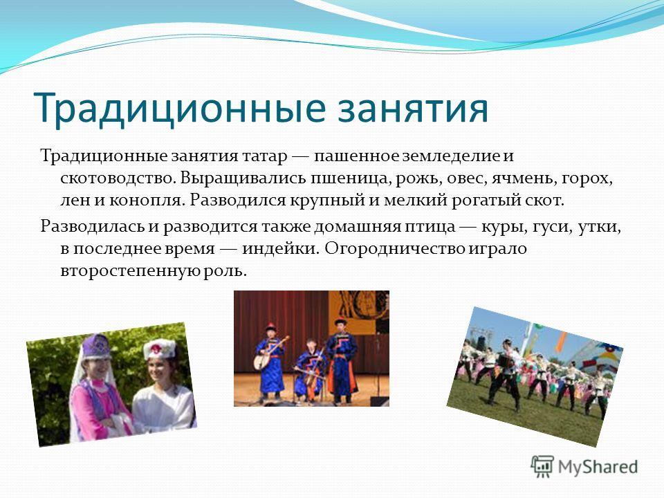 Традиционные занятия Традиционные занятия татар пашенное земледелие и скотоводство. Выращивались пшеница, рожь, овес, ячмень, горох, лен и конопля. Разводился крупный и мелкий рогатый скот. Разводилась и разводится также домашняя птица куры, гуси, ут