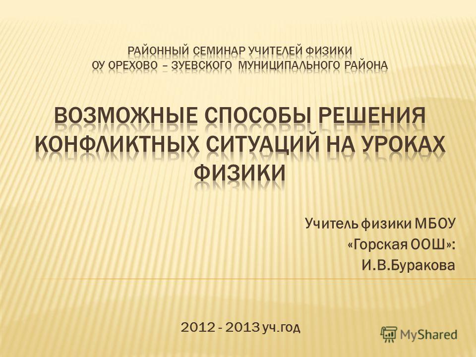 Учитель физики МБОУ «Горская ООШ»: И.В.Буракова 2012 - 2013 уч.год