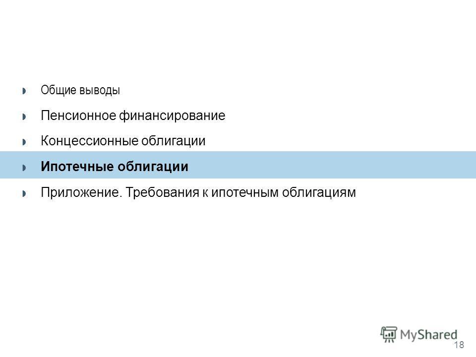18 Общие выводы Пенсионное финансирование Концессионные облигации Ипотечные облигации Приложение. Требования к ипотечным облигациям