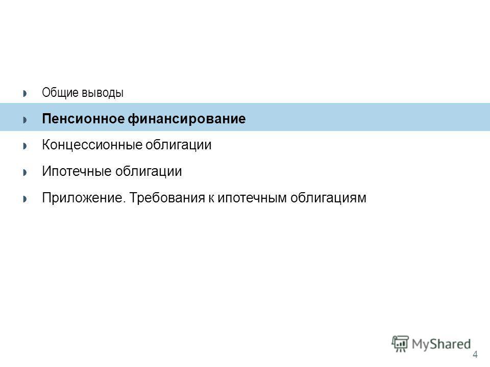 4 Пенсионное финансирование Концессионные облигации Ипотечные облигации Приложение. Требования к ипотечным облигациям