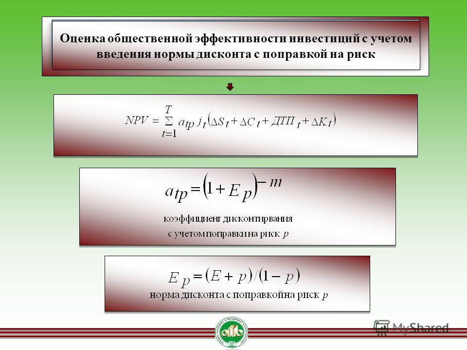 Оценка общественной эффективности инвестиций с учетом введения нормы дисконта с поправкой на риск