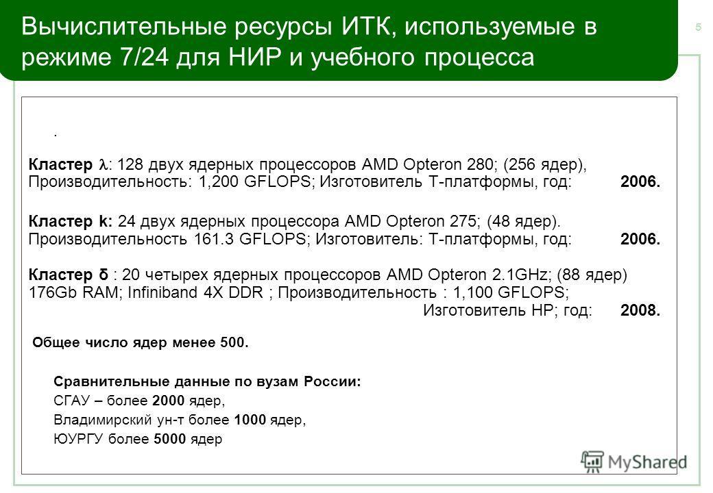 5 Вычислительные ресурсы ИТК, используемые в режиме 7/24 для НИР и учебного процесса. Кластер : 128 двух ядерных процессоров AMD Opteron 280; (256 ядер), Производительность: 1,200 GFLOPS; Изготовитель Т-платформы, год: 2006. Кластер k: 24 двух ядерны