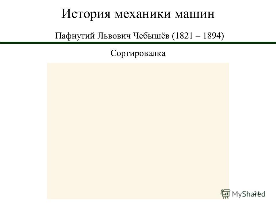 24 История механики машин Пафнутий Львович Чебышёв (1821 – 1894) Сортировалка