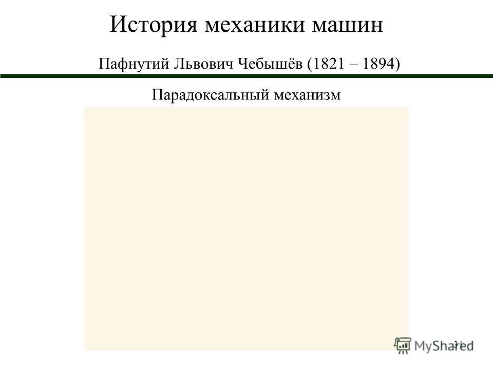 31 История механики машин Пафнутий Львович Чебышёв (1821 – 1894) Парадоксальный механизм
