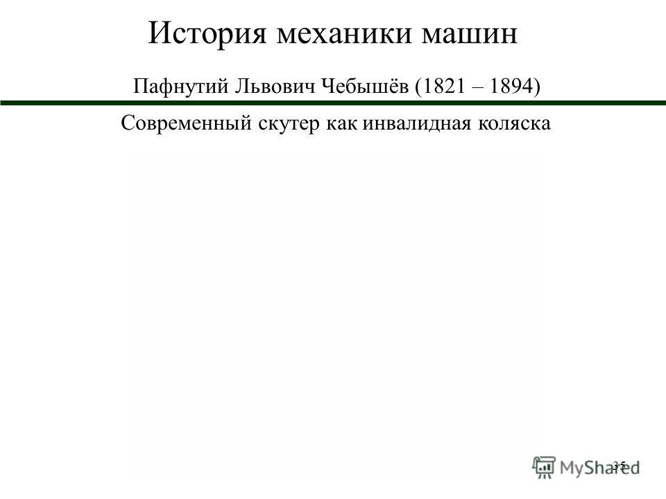 35 История механики машин Пафнутий Львович Чебышёв (1821 – 1894) Современный скутер как инвалидная коляска