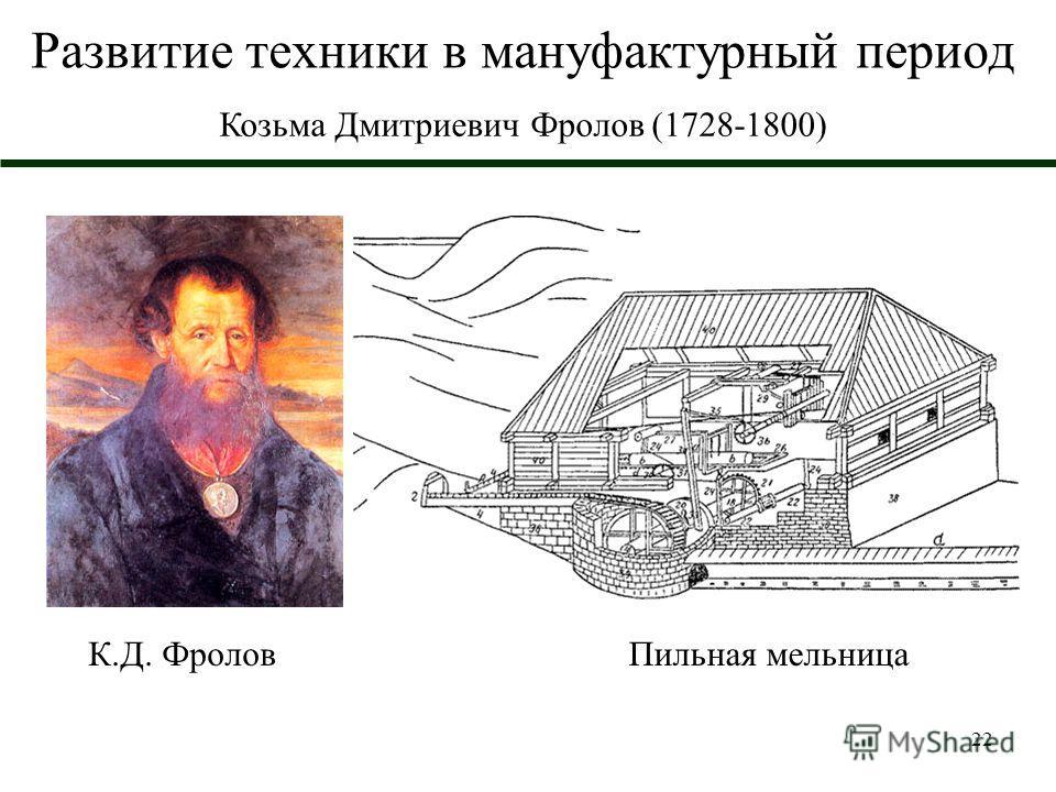 22 Развитие техники в мануфактурный период Козьма Дмитриевич Фролов (1728-1800) К.Д. Фролов Пильная мельница