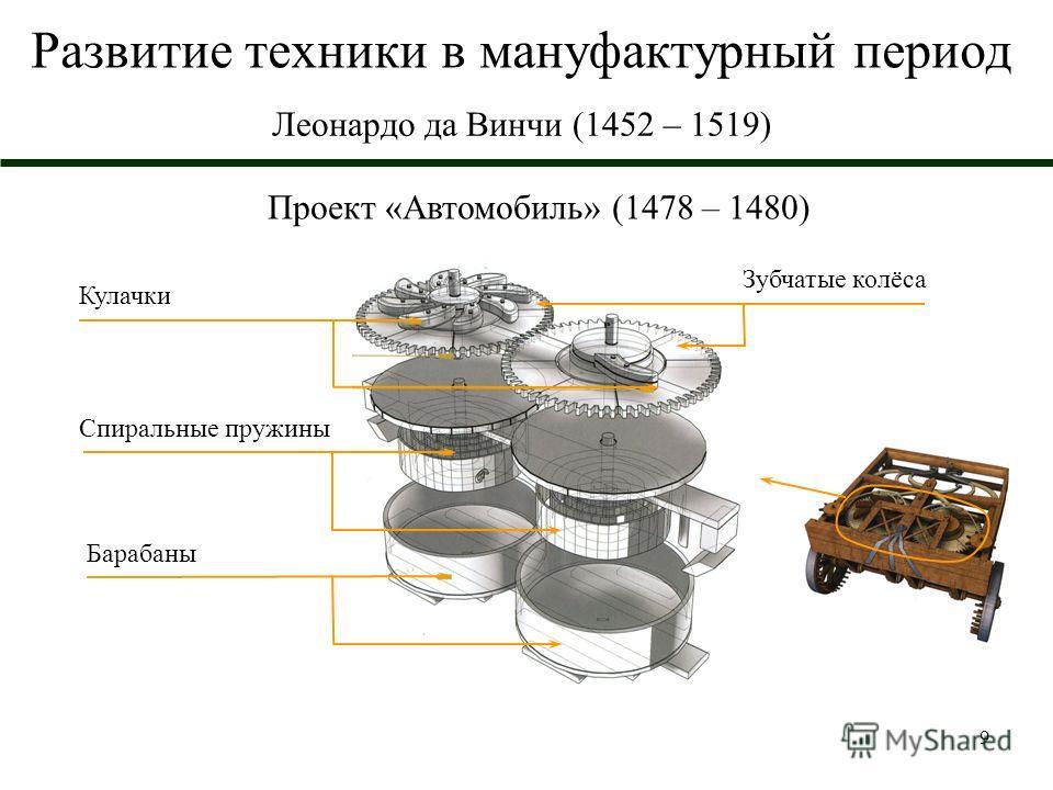 9 Развитие техники в мануфактурный период Леонардо да Винчи (1452 – 1519) Проект «Автомобиль» (1478 – 1480) Барабаны Спиральные пружины Кулачки Зубчатые колёса