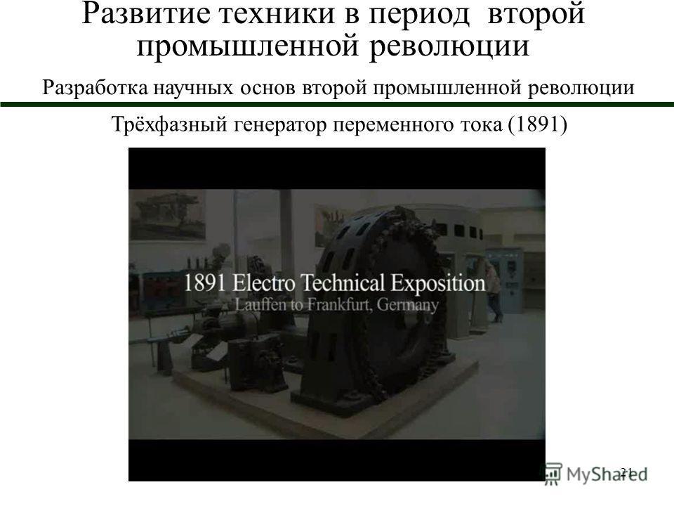 21 Развитие техники в период второй промышленной революции Трёхфазный генератор переменного тока (1891) Разработка научных основ второй промышленной революции