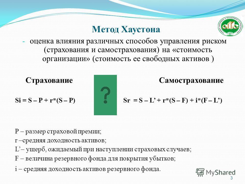Метод Хаустона 3 - оценка влияния различных способов управления риском (страхования и самострахования) на «стоимость организации» (стоимость ее свободных активов ) Страхование Самострахование Si = S – P + r*(S – P) Sr = S – L + r*(S – F) + i*(F – L)