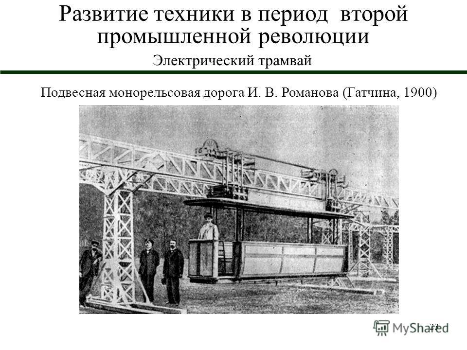 23 Развитие техники в период второй промышленной революции Электрический трамвай Подвесная монорельсовая дорога И. В. Романова (Гатчина, 1900)