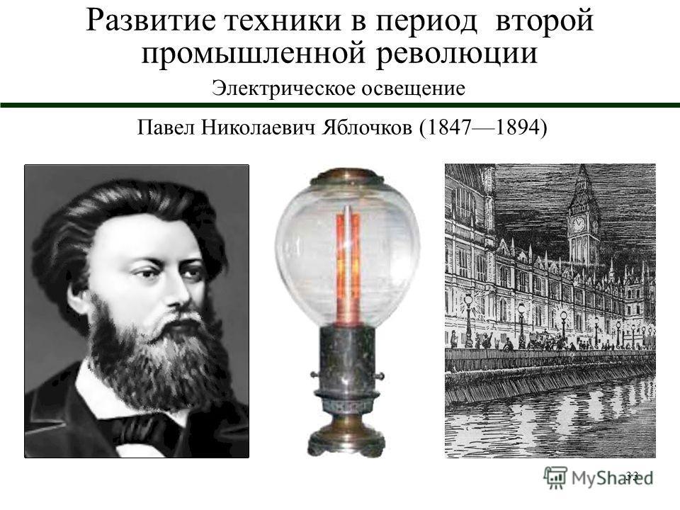33 Развитие техники в период второй промышленной революции Электрическое освещение Павел Николаевич Яблочков (18471894)