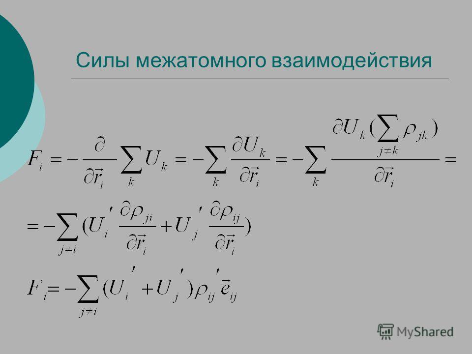 Силы межатомного взаимодействия