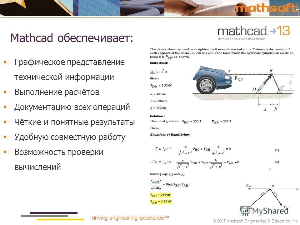© 2005 Mathsoft Engineering & Education, Inc. Mathcad обеспечивает: Графическое представление технической информации Выполнение расчётов Документацию всех операций Чёткие и понятные результаты Удобную совместную работу Возможность проверки вычислений