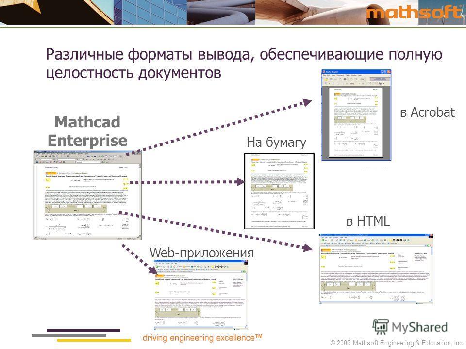 © 2005 Mathsoft Engineering & Education, Inc. Mathcad Enterprise На бумагу в Acrobat Web-приложения в HTML Различные форматы вывода, обеспечивающие полную целостность документов