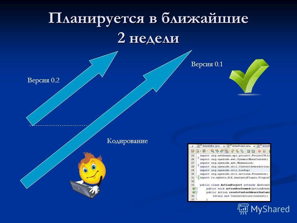 Планируется в ближайшие 2 недели Кодирование Версия 0.1 Версия 0.2