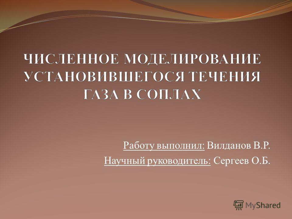 Работу выполнил: Вилданов В.Р. Научный руководитель: Сергеев О.Б.