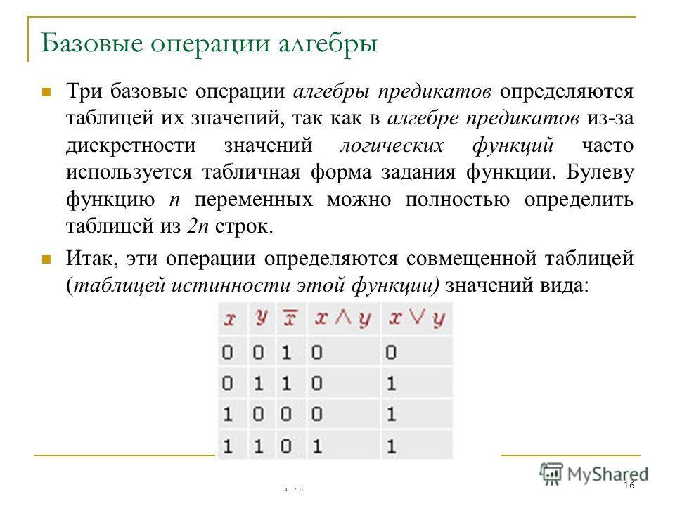 Кафедра ЮНЕСКО по НИТ 16 Базовые операции алгебры Три базовые операции алгебры предикатов определяются таблицей их значений, так как в алгебре предикатов из-за дискретности значений логических функций часто используется табличная форма задания функци