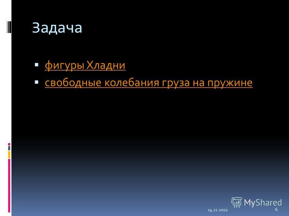Задача фигуры Хладни свободные колебания груза на пружине 14.11.2012 6