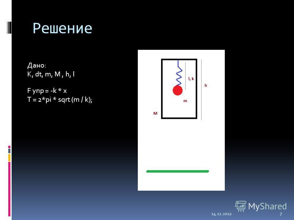 Решение Дано: K, dt, m, M, h, l F упр = -k * x T = 2*pi * sqrt (m / k); 14.11.2012 7