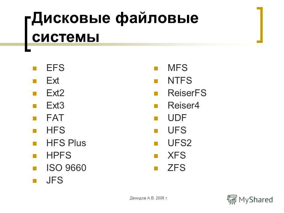 Демидов А.В. 2008 г. Дисковые файловые системы EFS Ext Ext2 Ext3 FAT HFS HFS Plus HPFS ISO 9660 JFS MFS NTFS ReiserFS Reiser4 UDF UFS UFS2 XFS ZFS