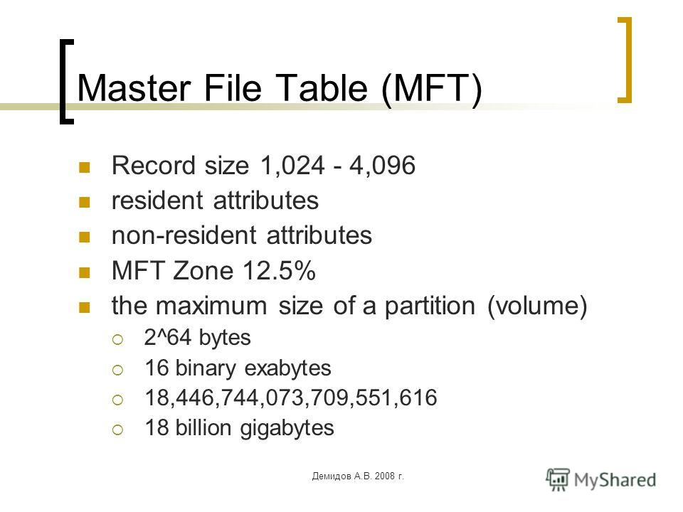Демидов А.В. 2008 г. Master File Table (MFT) Record size 1,024 - 4,096 resident attributes non-resident attributes MFT Zone 12.5% the maximum size of a partition (volume) 2^64 bytes 16 binary exabytes 18,446,744,073,709,551,616 18 billion gigabytes