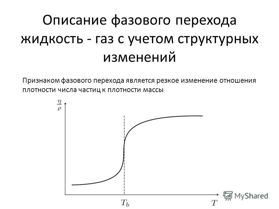 Описание фазового перехода жидкость - газ с учетом структурных изменений Признаком фазового перехода является резкое изменение отношения плотности числа частиц к плотности массы