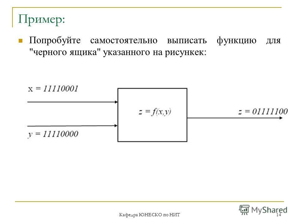 Кафедра ЮНЕСКО по НИТ 14 Пример: Попробуйте самостоятельно выписать функцию для черного ящика указанного на рисункек: