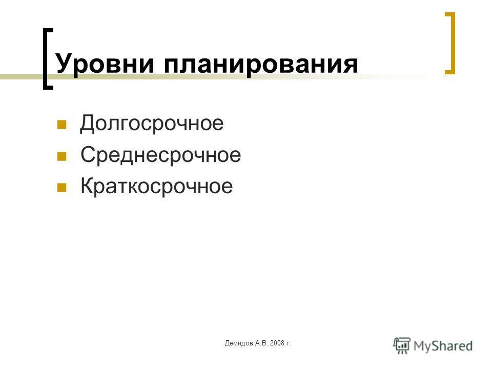 Демидов А.В. 2008 г. Уровни планирования Долгосрочное Среднесрочное Краткосрочное