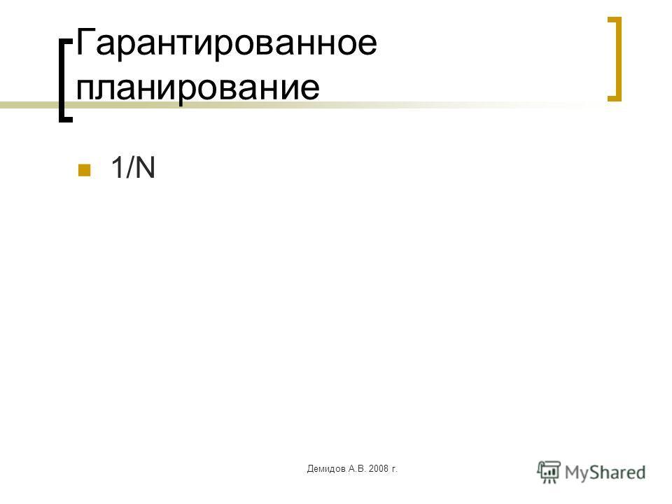 Демидов А.В. 2008 г. Гарантированное планирование 1/N