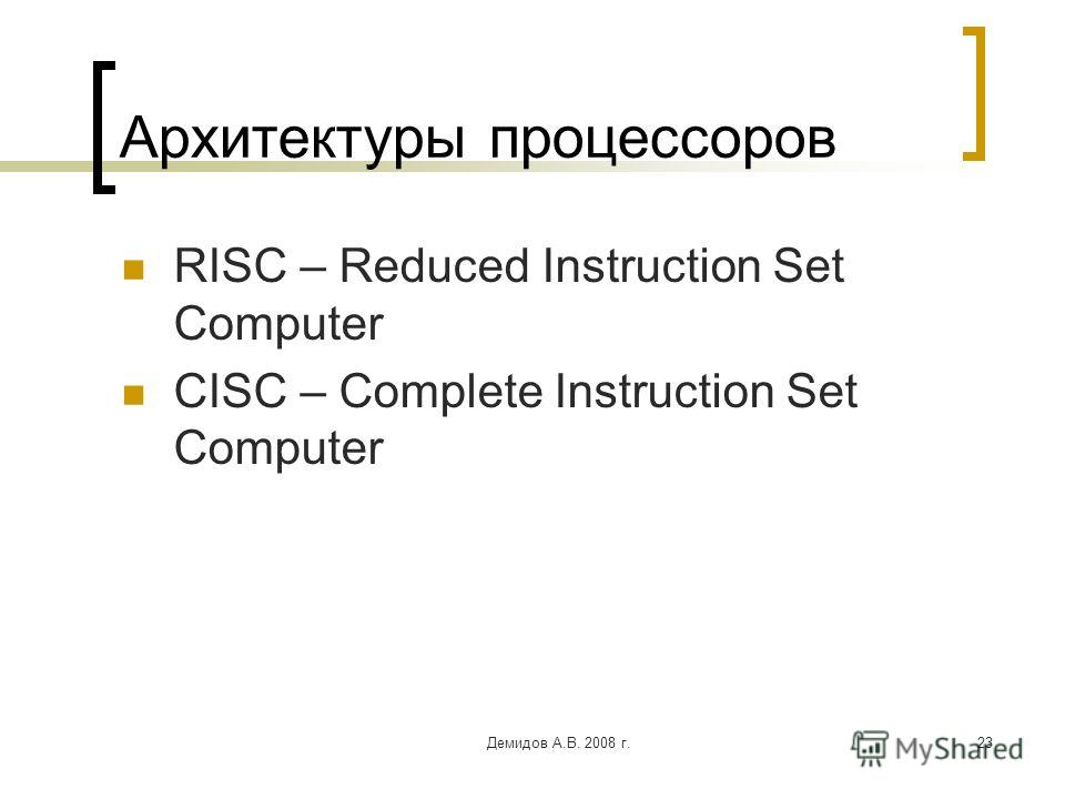 Демидов А.В. 2008 г.23 Архитектуры процессоров RISC – Reduced Instruction Set Computer CISC – Complete Instruction Set Computer
