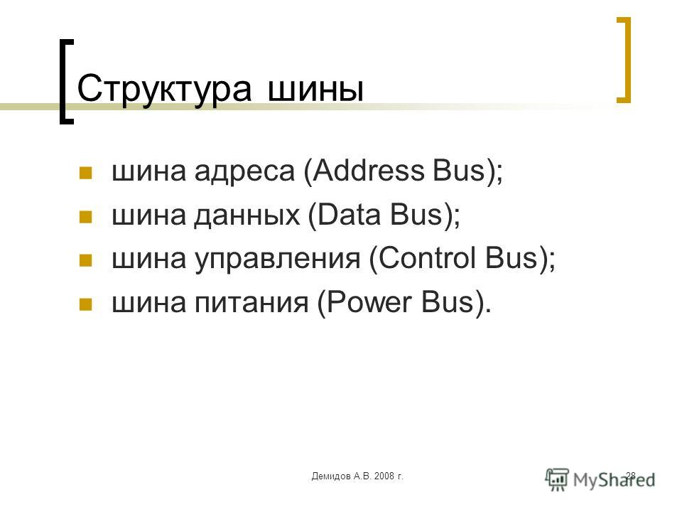 Демидов А.В. 2008 г.28 Структура шины шина адреса (Address Bus); шина данных (Data Bus); шина управления (Control Bus); шина питания (Power Bus).