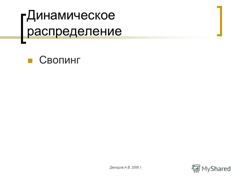 Демидов А.В. 2008 г. Динамическое распределение Свопинг