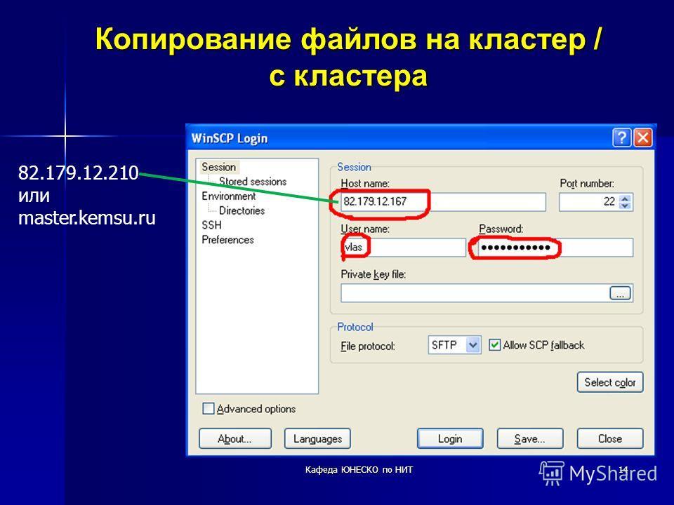 14 Копирование файлов на кластер / с кластера 82.179.12.210 или master.kemsu.ru Кафеда ЮНЕСКО по НИТ
