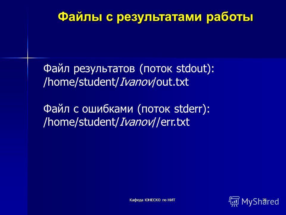 25 Файлы с результатами работы Файл результатов (поток stdout): /home/student/Ivanov/out.txt Файл с ошибками (поток stderr): /home/student/Ivanov//err.txt Кафеда ЮНЕСКО по НИТ