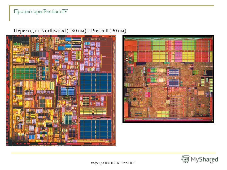 кафедра ЮНЕСКО по НИТ 54 Процессоры Pentium IV Переход от Northwood (130 нм) к Prescott (90 нм)