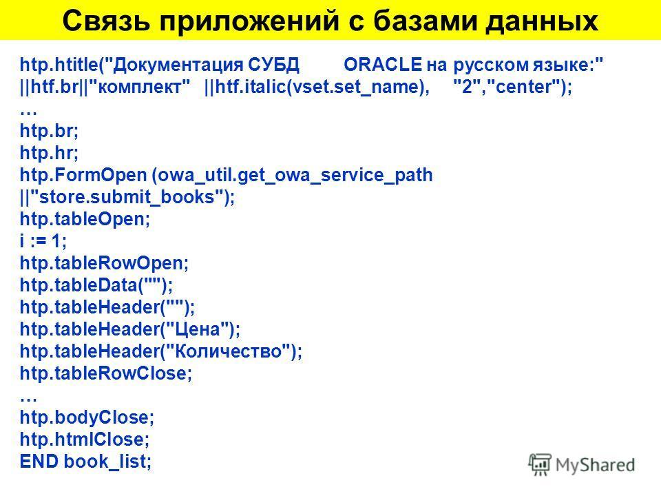 Связь приложений с базами данных htp.htitle(